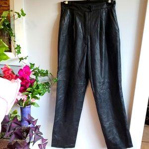 "Dita Martin black leather pants, 28"" waist"